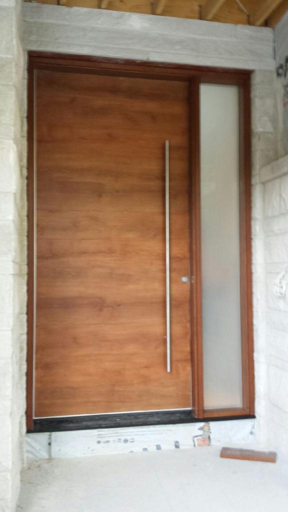 Fiberglass Door-Modern Fiberglass Woograin Door with Side Lite and Stainless Steel Bar