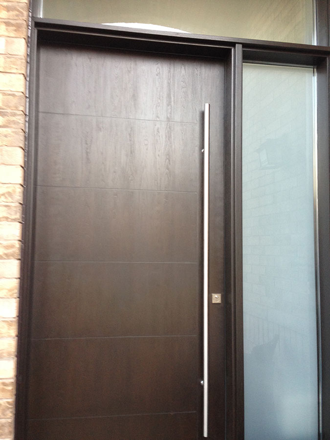 Fiberglass Door-Modern Rustic Woodgrain Fiberglass Door with Frosted Side Lite and Transom