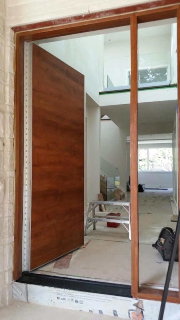 Fiberglass Door-Woograin Rustic Modern Fiberglass Door with Side Lite and Stainless Steel Bar During Installations