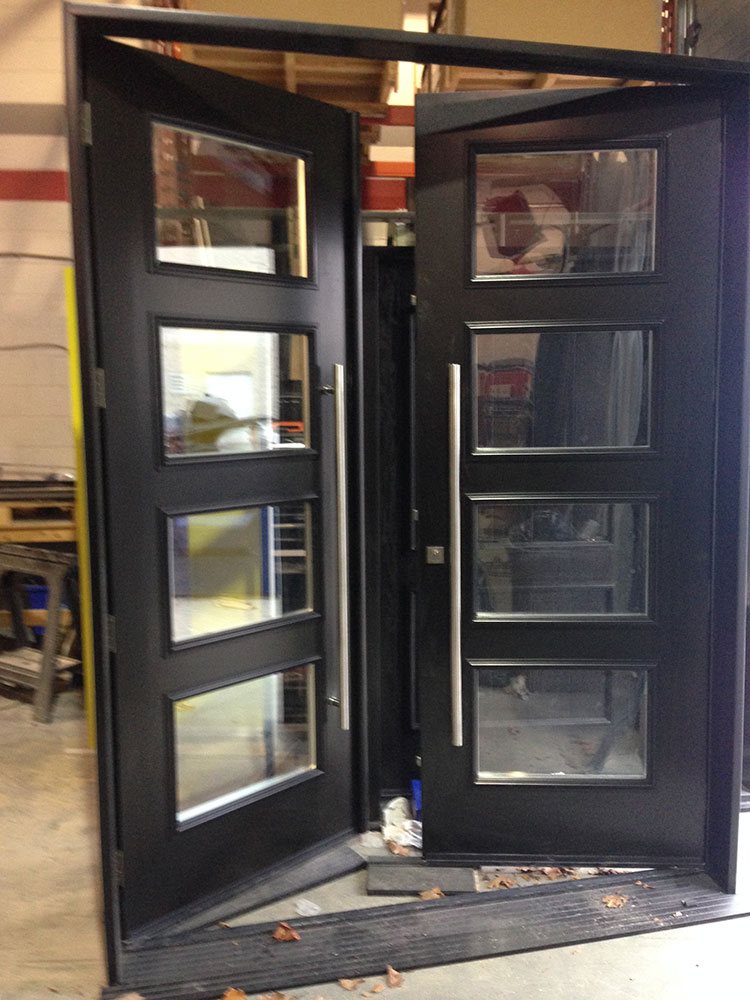Fiberglass Doors-Modern Fiberglass 8 Foot Doors with 4 Door Clear Door Lites and Stainless Steel Handle Manufactured by Modern Doors