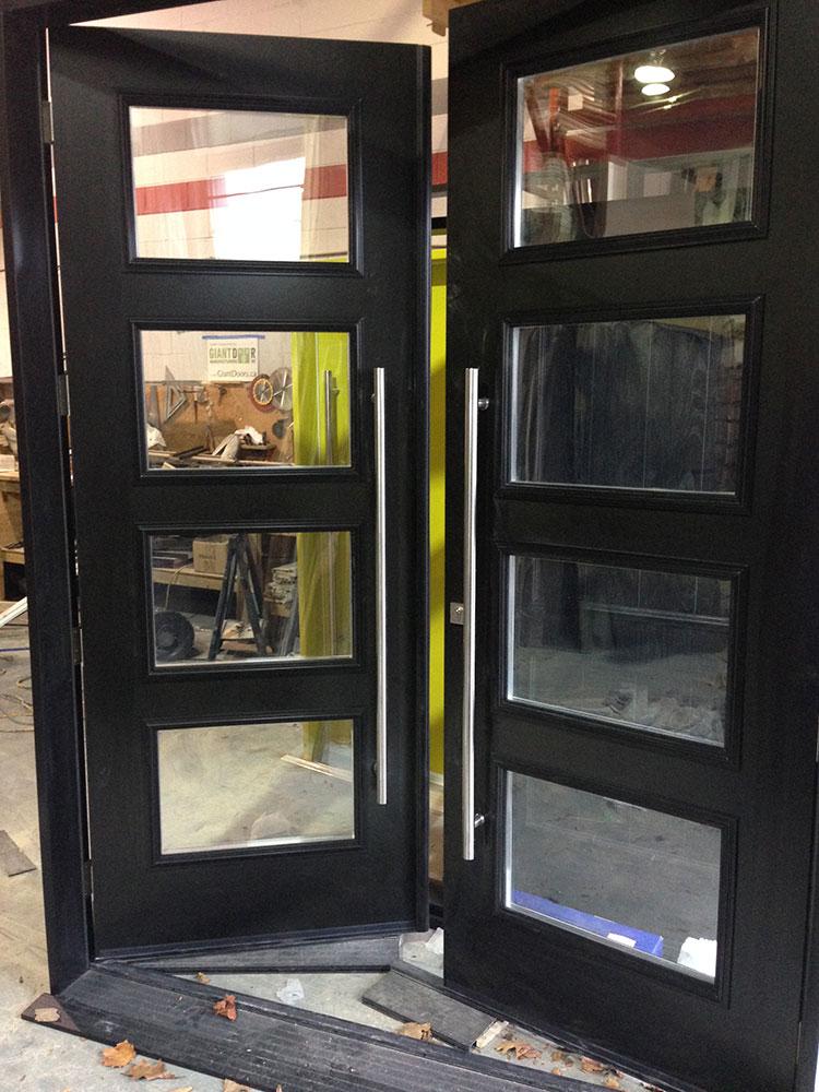 Fiberglass Doors-Modern Fiberglass 8 Foot Doors with 4 Door Clear Door Lites and Stainless Steel Handles Manufactured by Modern Doors