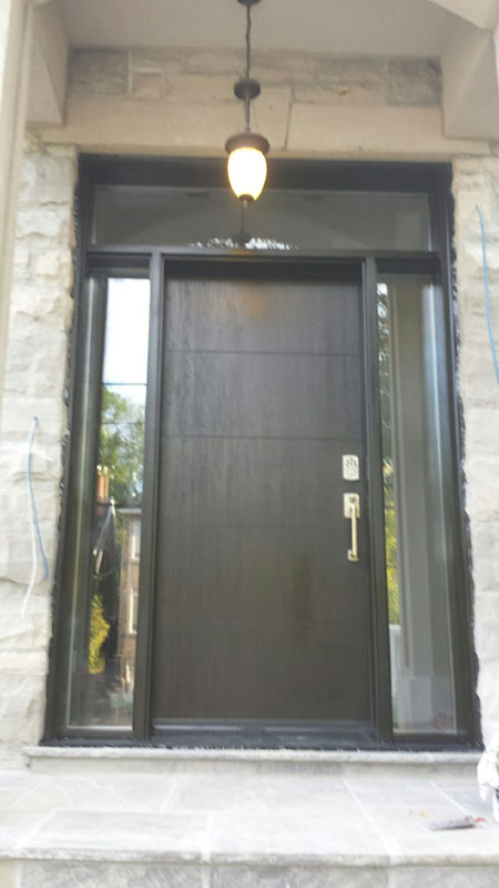 Fiberglass Doors-Modern Woodgrain Fiberglass Door with 2 Clear Side Lites and Transom Installed in Scarborough