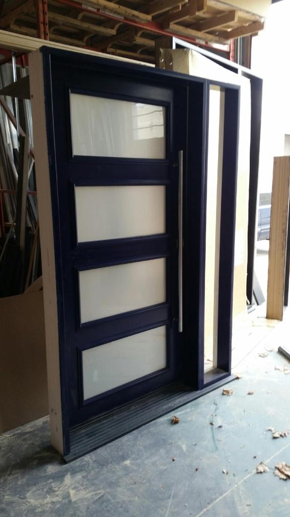 Fiberglass Front Door-Modern Fiberglass Smoth Front Door With 4 Frosted Door Lites and Side lite During Manufacturing