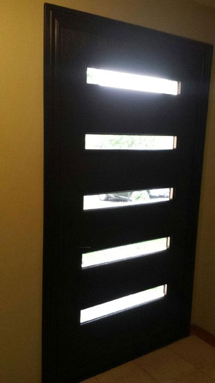 Fiberglass Modern Single Door with 5 Doors Lites-Inside View