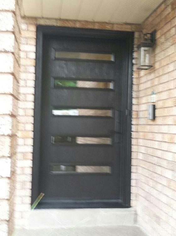 Fiberglass Modern Single Door with 5 Doors Lites