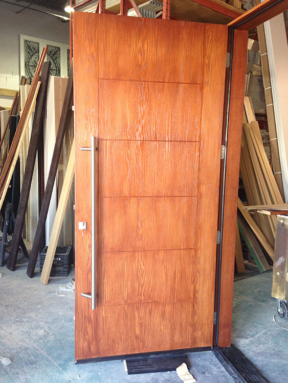 Fiberglass Woodgrain Modern Door-Cedar Modern Fiberglass Woodgrain Door Manufactured by Modern Doors