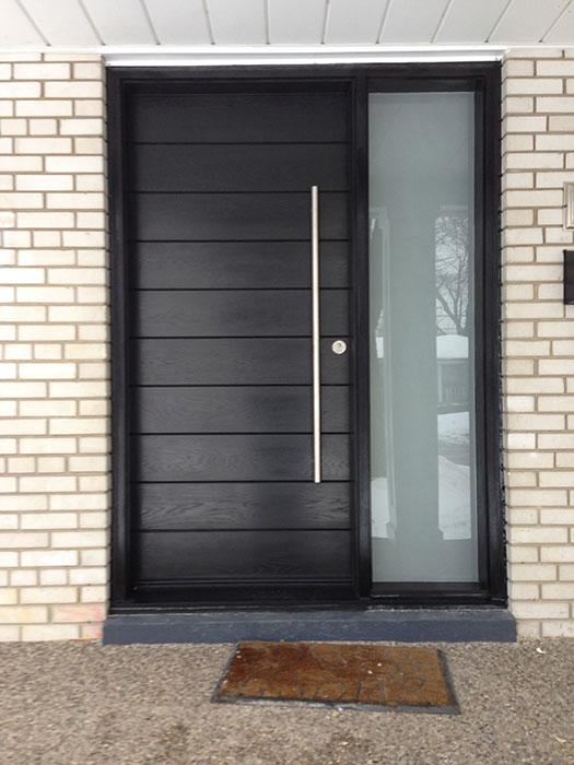 Front Entrance Door-Modern Door- Entry Front Door-Modern Fiberglass Door Frosted side lites installled in Aurora by modern-doors.ca