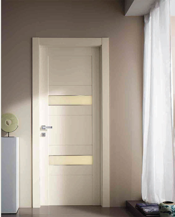 MODERN FIBERGLASS ITALIAN DESIGN DOOR- MODERN HINGED DOOR WITH IVORY SILK-PRINTED GLASS PANELS INSTALLED IN MAPLE BY MODERN-DOORS.CA