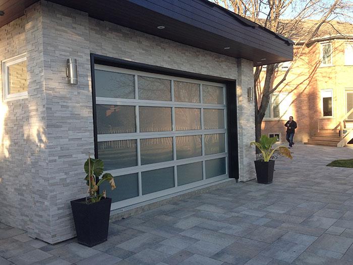 Modern Aluminum Garage Door-Aluminum Garage door with Frosted lites installed by Modern Doors