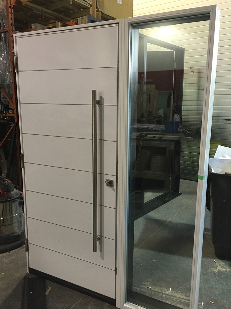 Modern Aluminum Powder Coated Door with Stainless Steel-Inside View