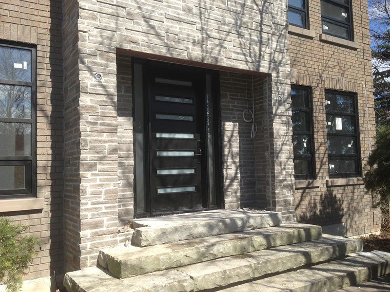 Modern Contemporary Door- Modern Custom Fiberglass Door with 2 Side Lites & horizontal strips installed in Toronto, Ontario by Modern-doors