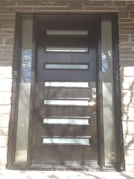Modern Contemporary Door- Modern Custom Fiberglass Door with 2 Side Lites & horizontal strips installed in Toronto, Ontario- by Modern-doors