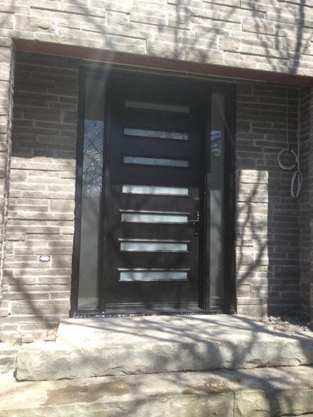 Modern Contemporary Door-Modern Fiberglass Door with 2 Side Lites & horizontal strips installed in Toronto, Ontario- by Modern-doors
