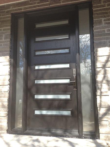 Modern Contemporary Door-Modern Fiberglass Door with 2 Side Lites & horizontal strips installed in Toronto, Ontario by Modern-doors