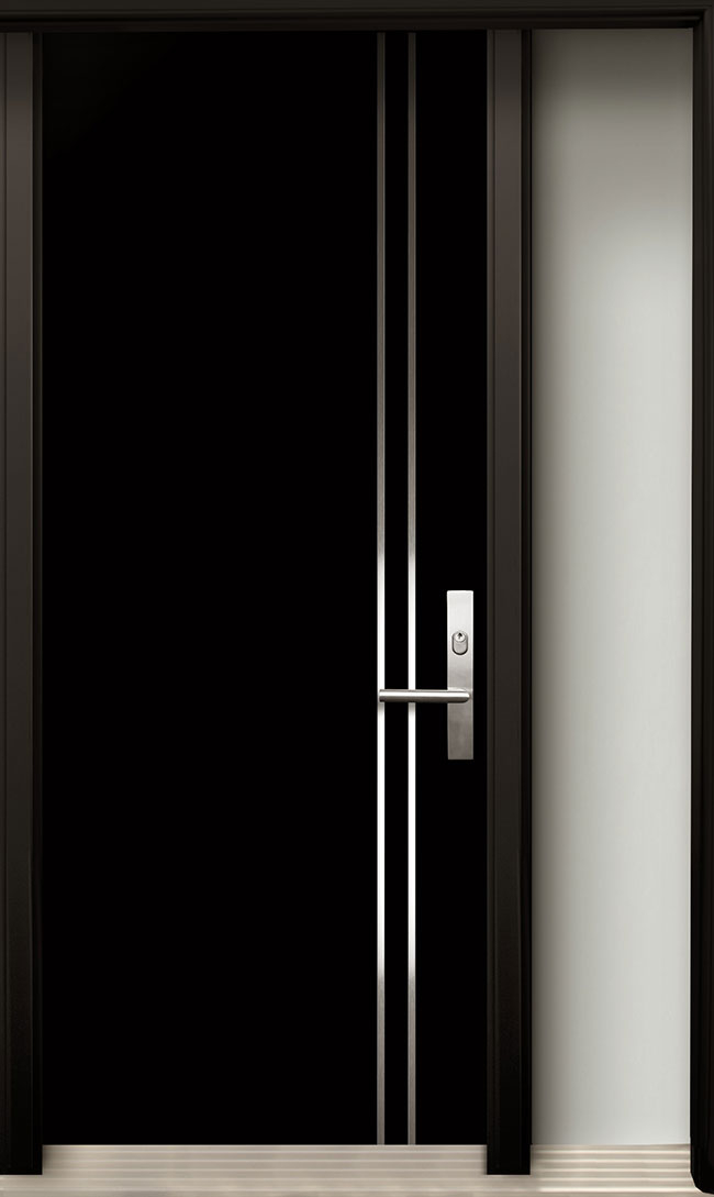 Modern Contemporary Door -Modern Wood Door with Stainless Steel Design installed in Maple, Ontario by Modern-doors.ca-Pic#182