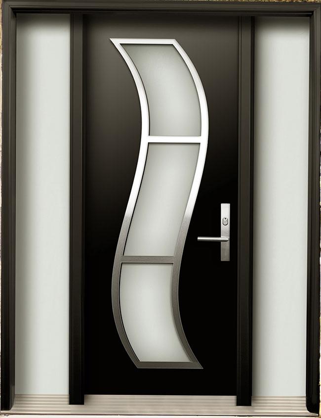 Modern Contemporary Door -Modern Wood Door with Stainless Steel S Design installed in Toronto, Ontario by Modern-doors.ca-Pic#185