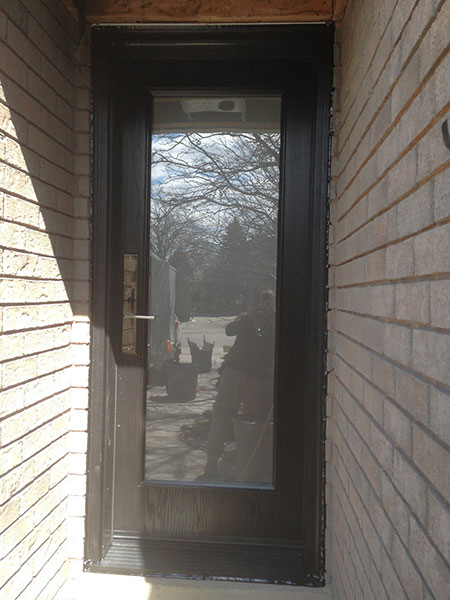Modern Contemporary Fiberglass Door- Modern Fiberglass Door with forsted glass & Multi Point Locks installed in Woodbridge, Ontario by Modern-doors