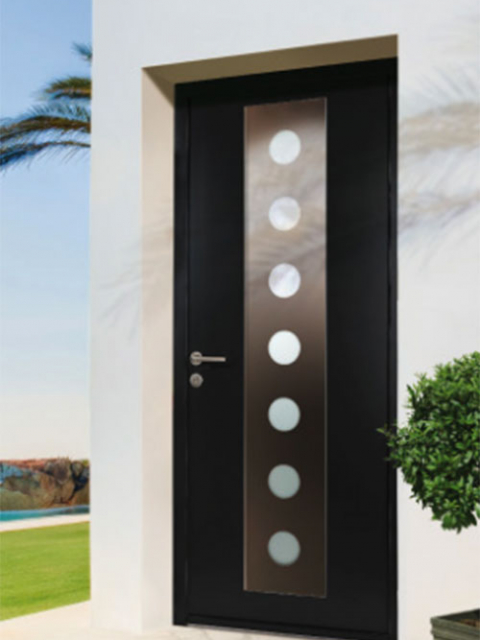 Modern Contemporary Front Door, Solid Modern Door with Steel Plate and Lites manufactured by modern-doors.ca