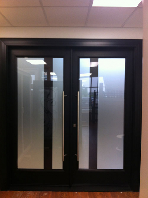 Modern Contemporary Front Double Doors, Fiberglass with Frosted Glass by modern-doors.ca