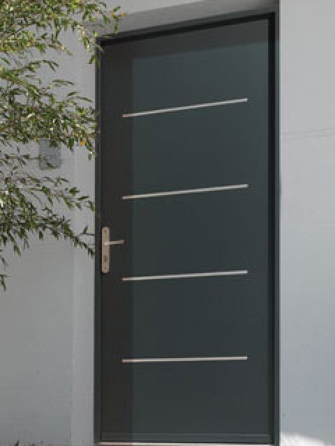 Modern Contemporary Front Entrance Door installed by modern-doors.ca