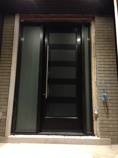 Modern Contemporary Front Entrance Exterior Door with 2 Side Lites and Multi Point Locks installed by modern-doors.ca in Oshawa, Ontario-Picture#MED113