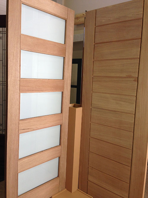 Modern Contemporary Front Entrance Wood Doors with Frosted Glass Designed by modern-doors.ca-Picture#MED114
