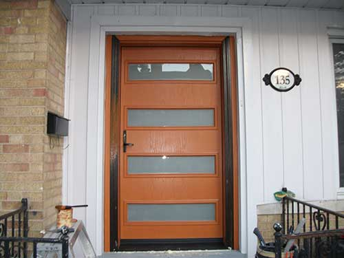 Modern Contemporary Front Entry Door- Fiberglass Single Front Door with Multi Point Locks installation by mdern-doors.ca in Richmond Hill, Ontario-Picture#MED116