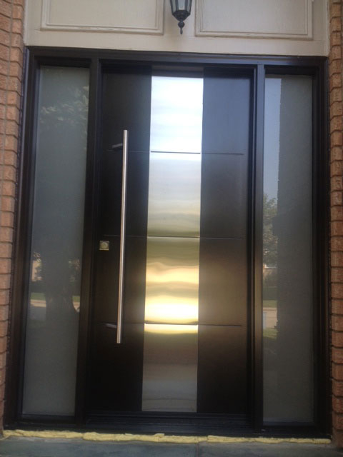 Modern Contemporary Front Entry Door - Frosted Glass and steel plate, Modern Exterior front Door with 2 Side Lites and Multi Point Locks Installed by modern-doors.ca in Toronto, Ontaio-Picture#MED103