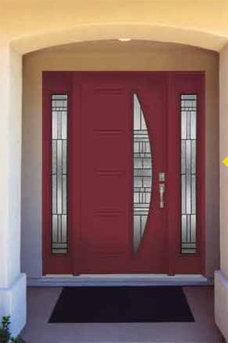 Modern Contemporary Front Entry Door-LINEA Design from Design Collection - Modern Exterior front Entrance Door with 2 Side LitesInstalled by modern-doors.ca in Whitchurch Stouffville-Picture#306
