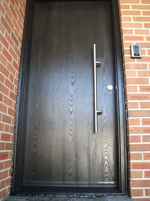 Modern Contemporary Front Entry Woodgrain Single Rustic Door installed by modern-doors.ca in Etobicoke, Ontario-Picture#MED140