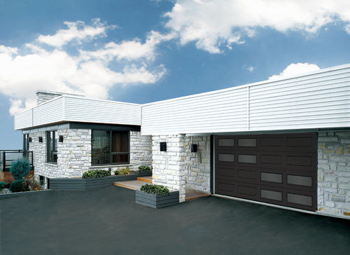 Modern Contemporary Garage Doors-Double Offset Window Layout Modern Garage Door in Oaville, Ontario by www.modern-doors.ca-Picture#609