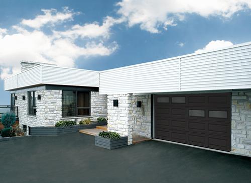 Modern Contemporary  Garage Doors-Offset Window Layout Modern Garage Doors in Oakville, Ontario by www.modern-doors.ca-Picture#616