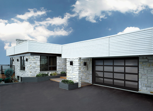 Modern Contemporary Garage Doors-Tinted glass Modern Garage Door in Oakville, Ontario by www.modern-doors.ca-Picture#621