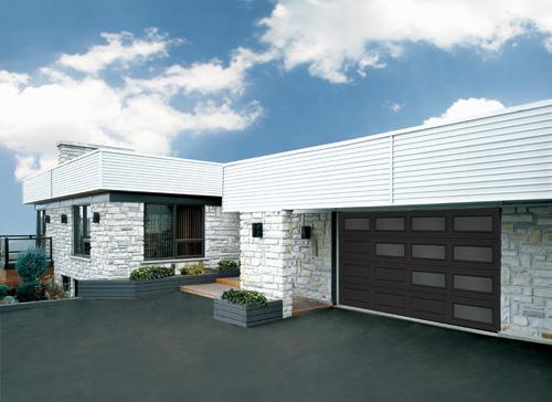Modern Contemproray Garage Doors- Perspective Window layout Modern Garage Door in Oakville, Ontario by www.modern-doors.ca-Picture#602