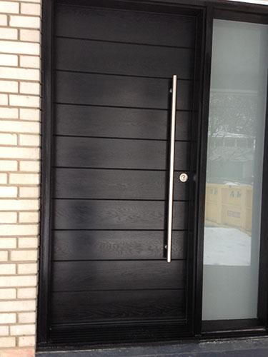 Modern Door- Entry Modern Door-Modern Fiberglass Door  Frosted side lites installled in Aurora by modern-doors.ca