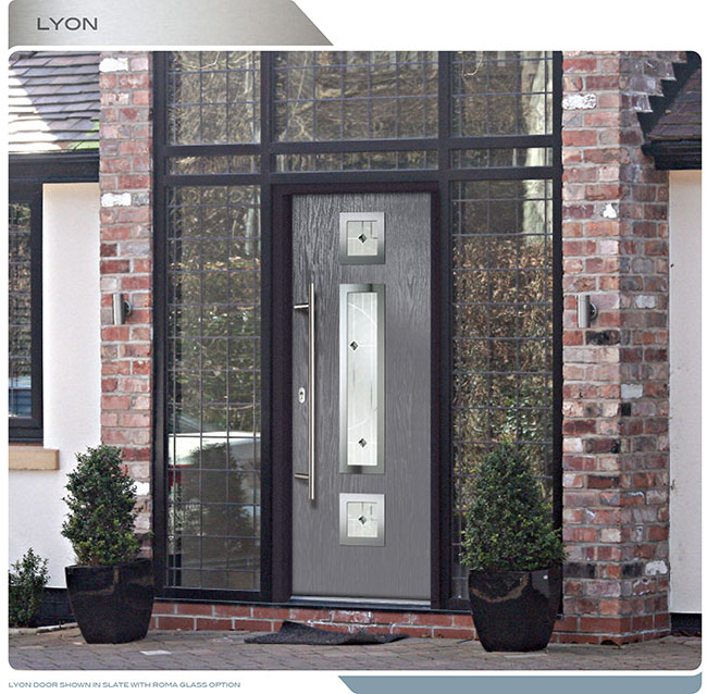 Modern Entrance Door- Fiberglass Modern Door with 3 steel plate lites installed in Thornhill