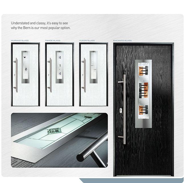 Modern Entry Front Door- Fiberglass Woodgrain Modern Door with stainless steel design and Handle installed in Missisauga by modern-doors