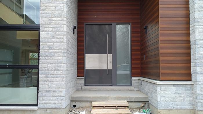 Modern Exterior 10 feet Door with Stainless Steel bar Installed in Modern-House in Bathurst