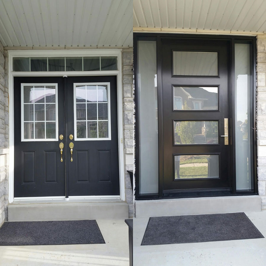 Modern Exterior Door with Multi Point Locks-4 Door lites and 2 Side Lites installed in Toronto By Modern Doors-Before and After Installation