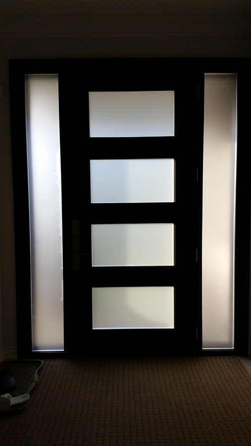 Modern Exterior Door with Multi Point Locks-4 Door lites and 2 Side Lites installed in Toronto By Modern Doors-Inside View