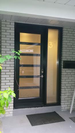 Modern Exterior Fiberglass Door with 6 Frosted Door Lites and Side lite installed in Toronto