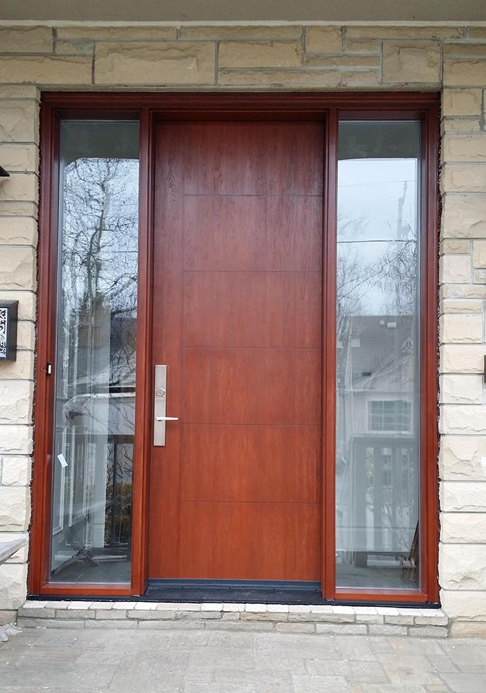 Modern Exterior woodgrain rustic door with 2 sidelites and multi point locks