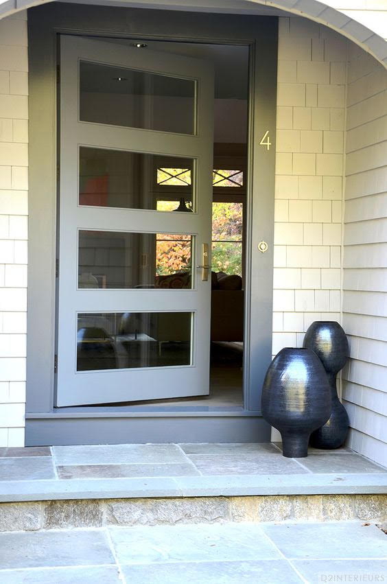 Modern Fiberglass Door with 4 Clear Glass Door Lites and Multi Point Lock System