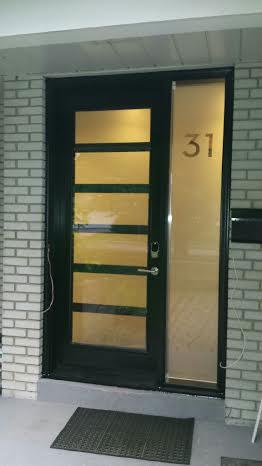 Modern Fiberglass Door with 6 Frosted Door Lites and Side lite installed in Toronto