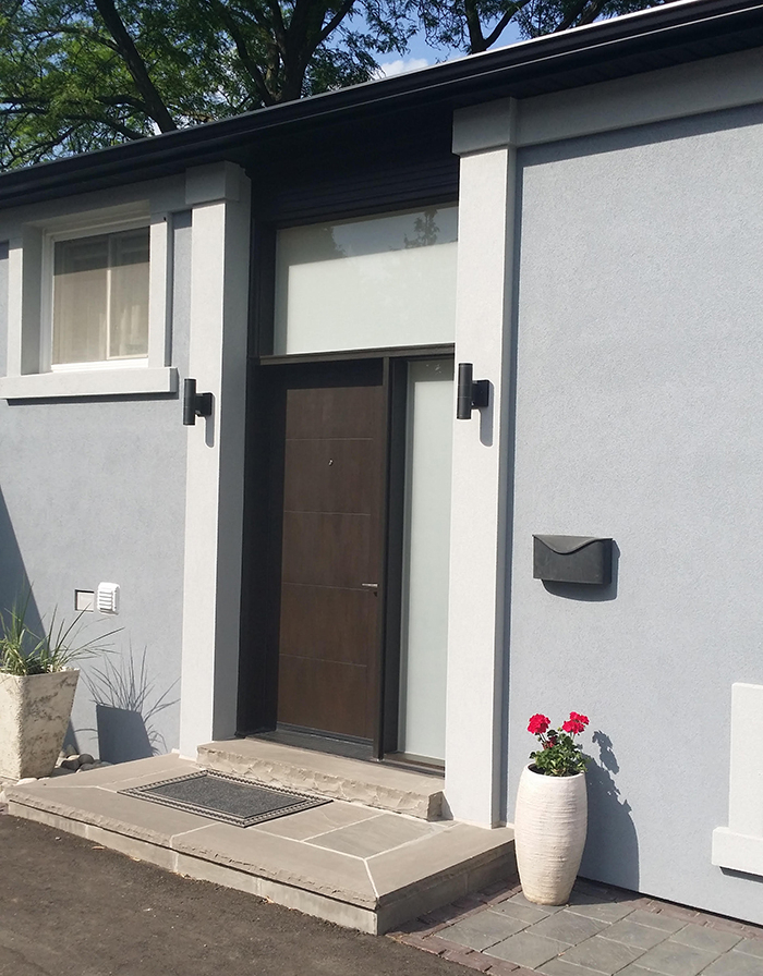 Modern Fiberglass Door with Side Lites and Transom and Frosted Glass installed by Modern Doors