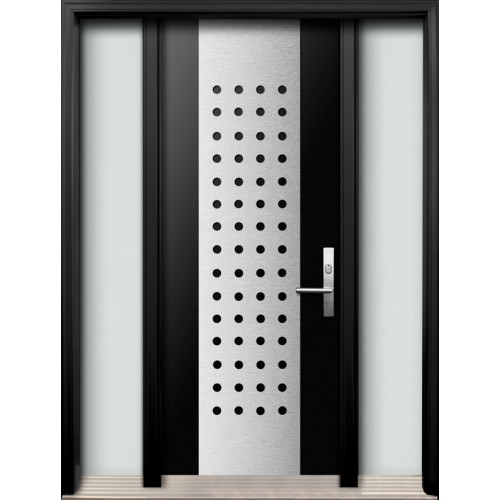 Modern Fiberglass Double Doors with Stainless Steel Designinstalled in Oshava, Ontario, by Modern-doors.caPicture#172