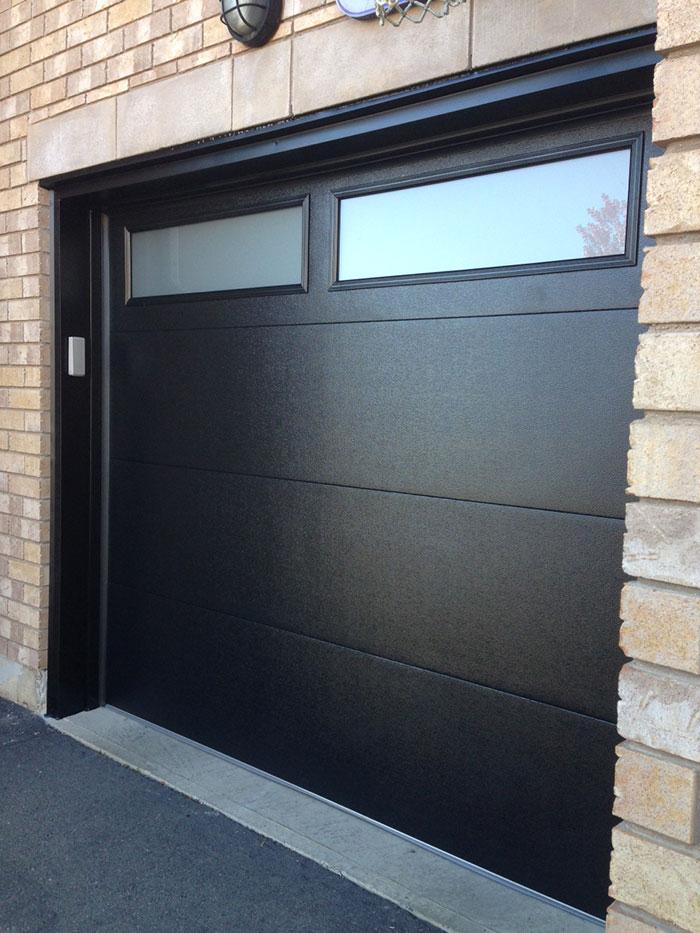 Modern Fiberglass Garage Doors-Modern Garage door with frosted door lites manufactured and installed by modern-doors