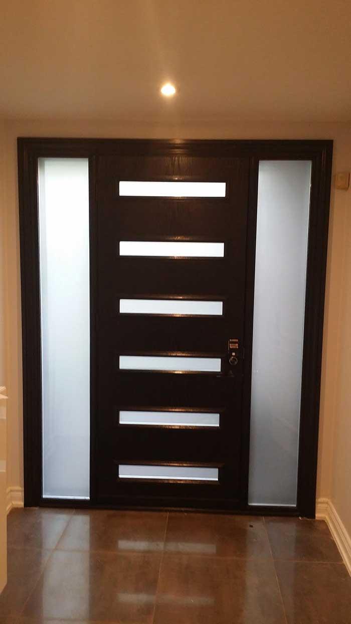 Modern Fiberglass SIngle Door with 6 Door LItes and Frosted Side Lites