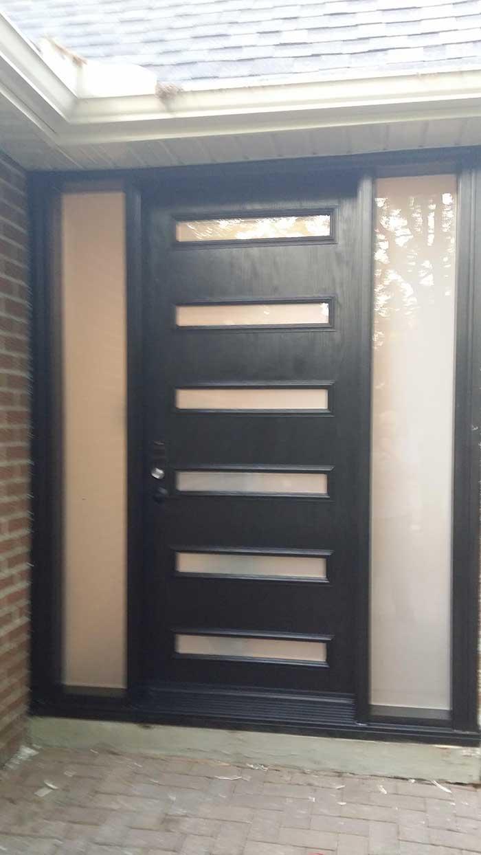 Modern Fiberglass SIngle Door with 6 Door LItes with Frosted Side Lites