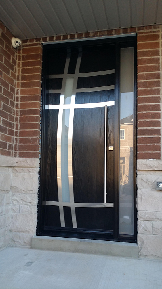 Modern Fiberglass front Door with Stainless Steel arch design